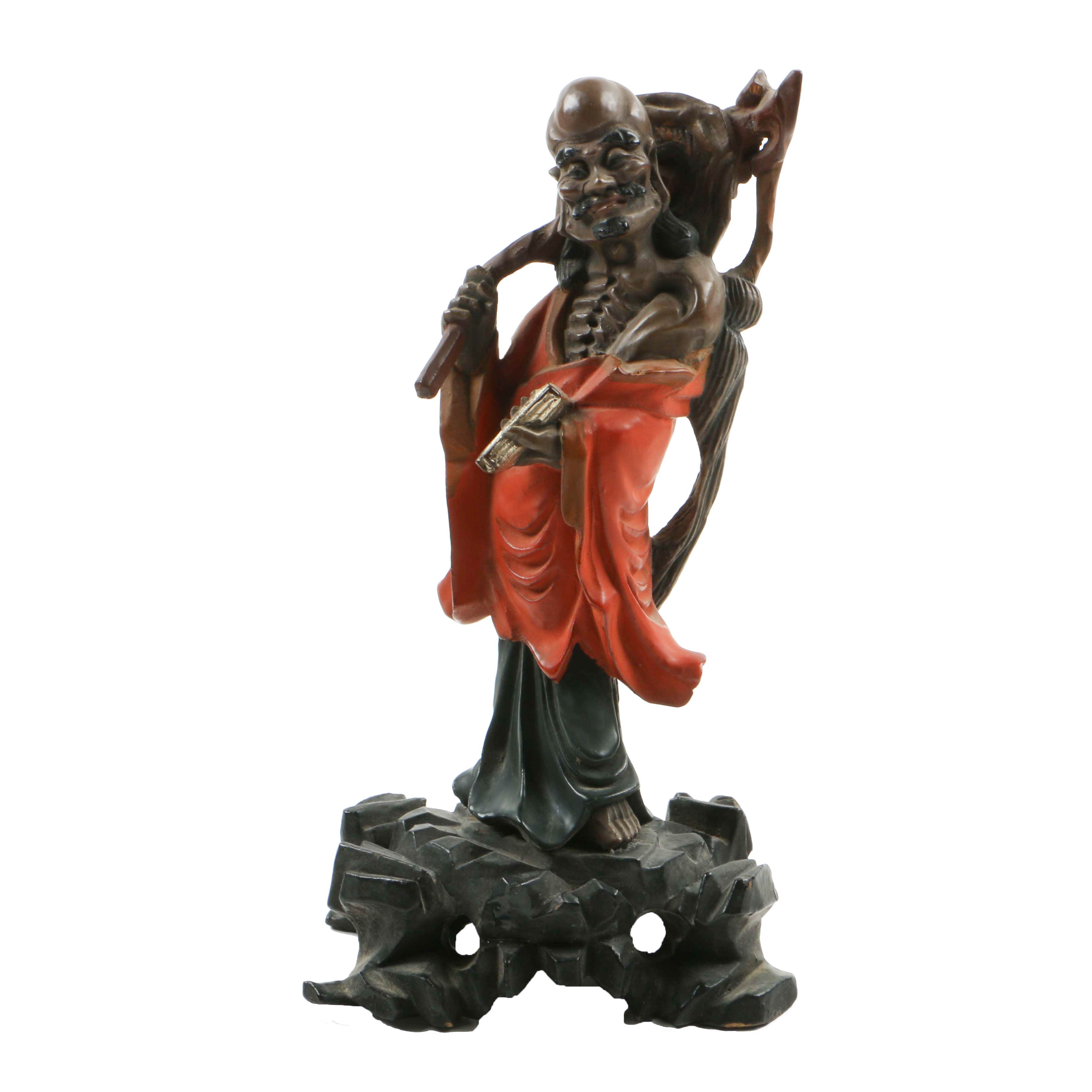 Chinese Carved Wood and Lacquered Figure of Elderly Gentleman on Base
