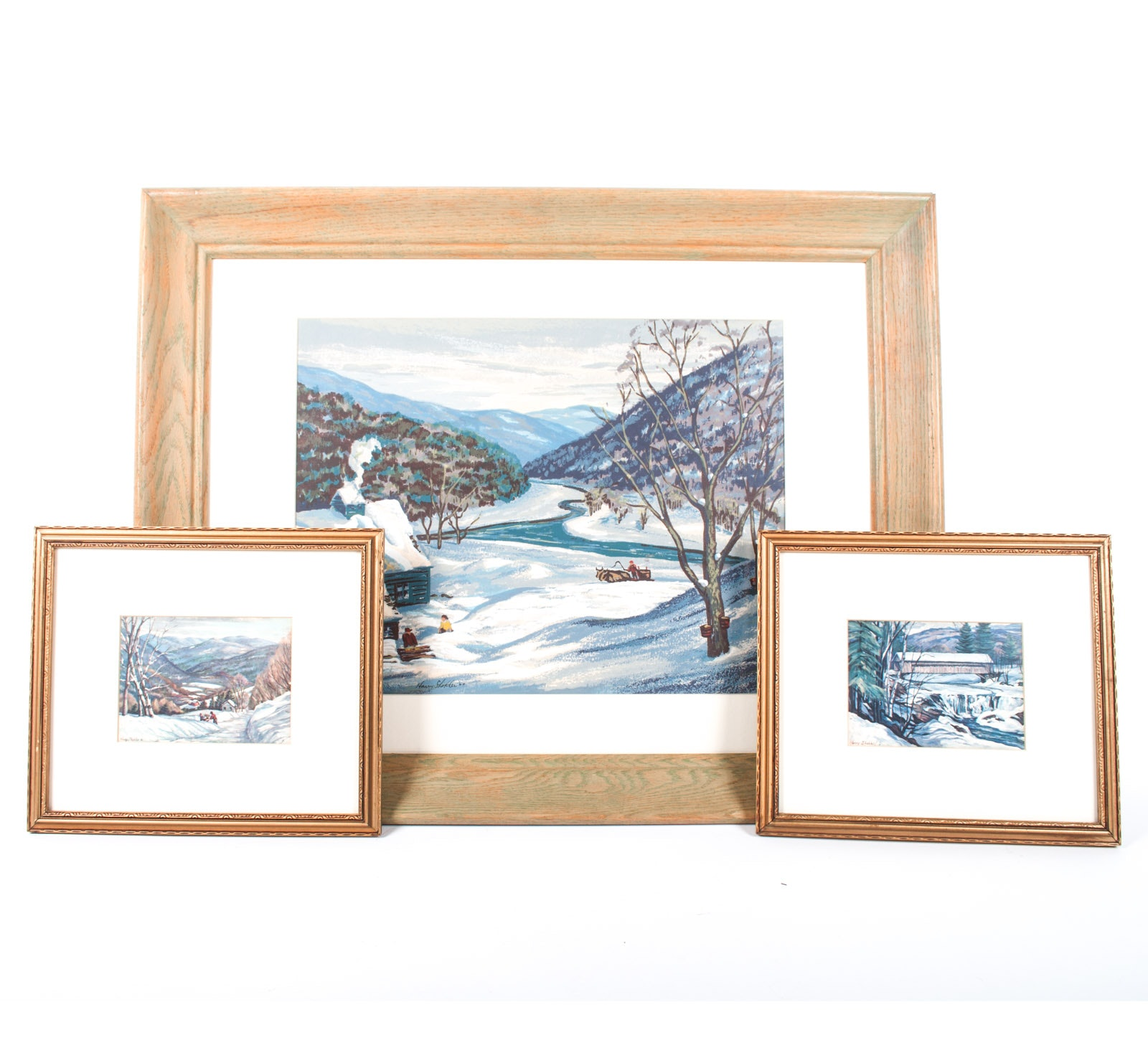 Harry Shokler Framed Serigraph on Paper Winter Scenes
