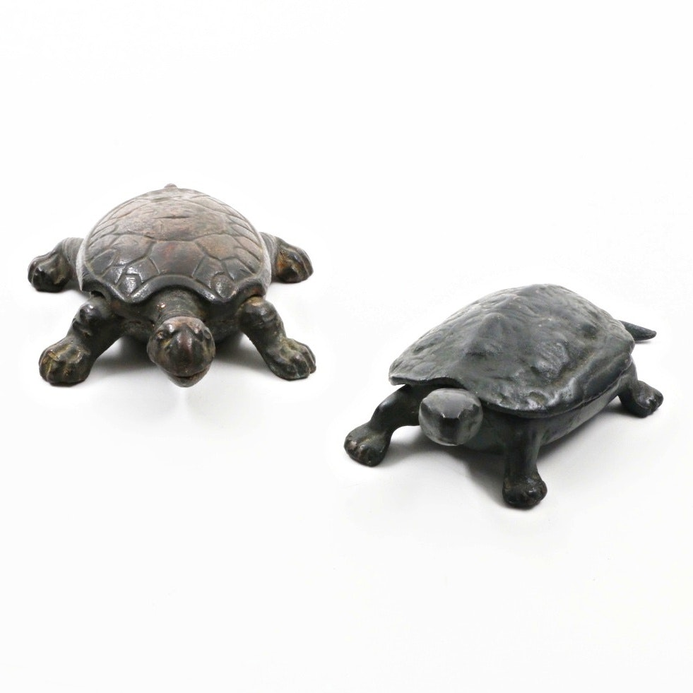 A Pair of Hinged Turtle Boxes Cast in Brass and Cast Iron