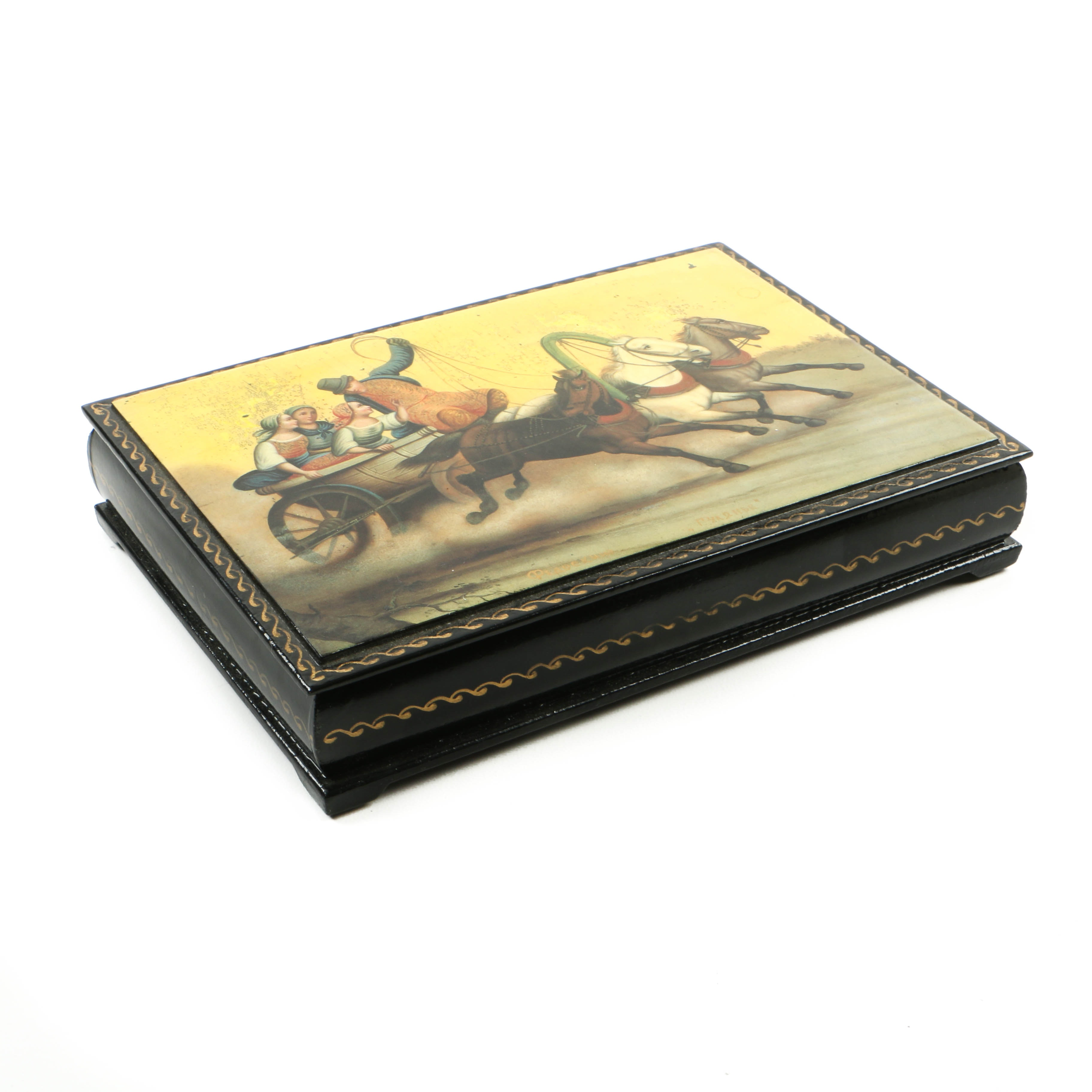 Vintage Russian Lacquered Box, Signed