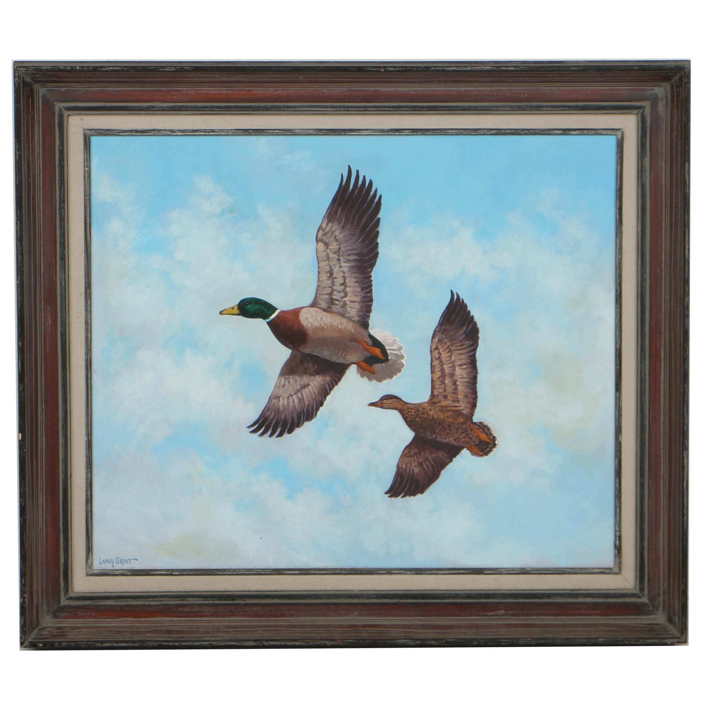 Lanny Grant Oil Painting on Board of Flying Mallards