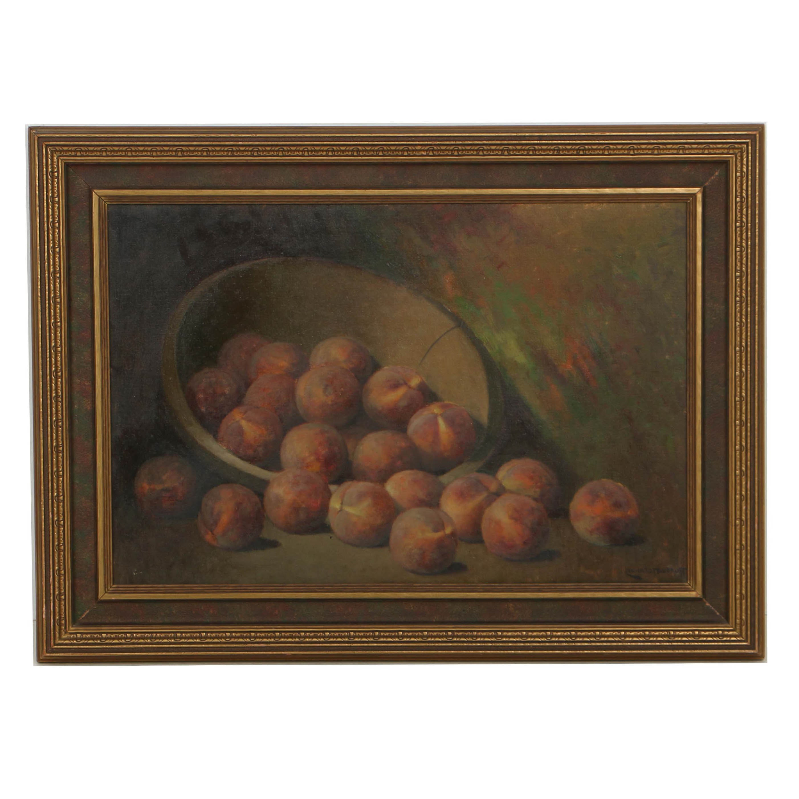 Leonard Woodruff Oil Painting on Canvas Still Life with Peaches