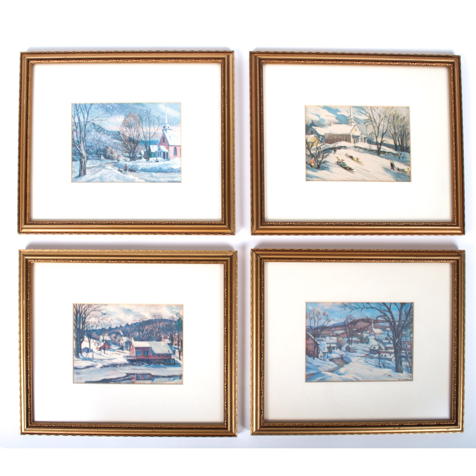 Set of Harry Shokler Serigraphs on Paper of Winter Scenes