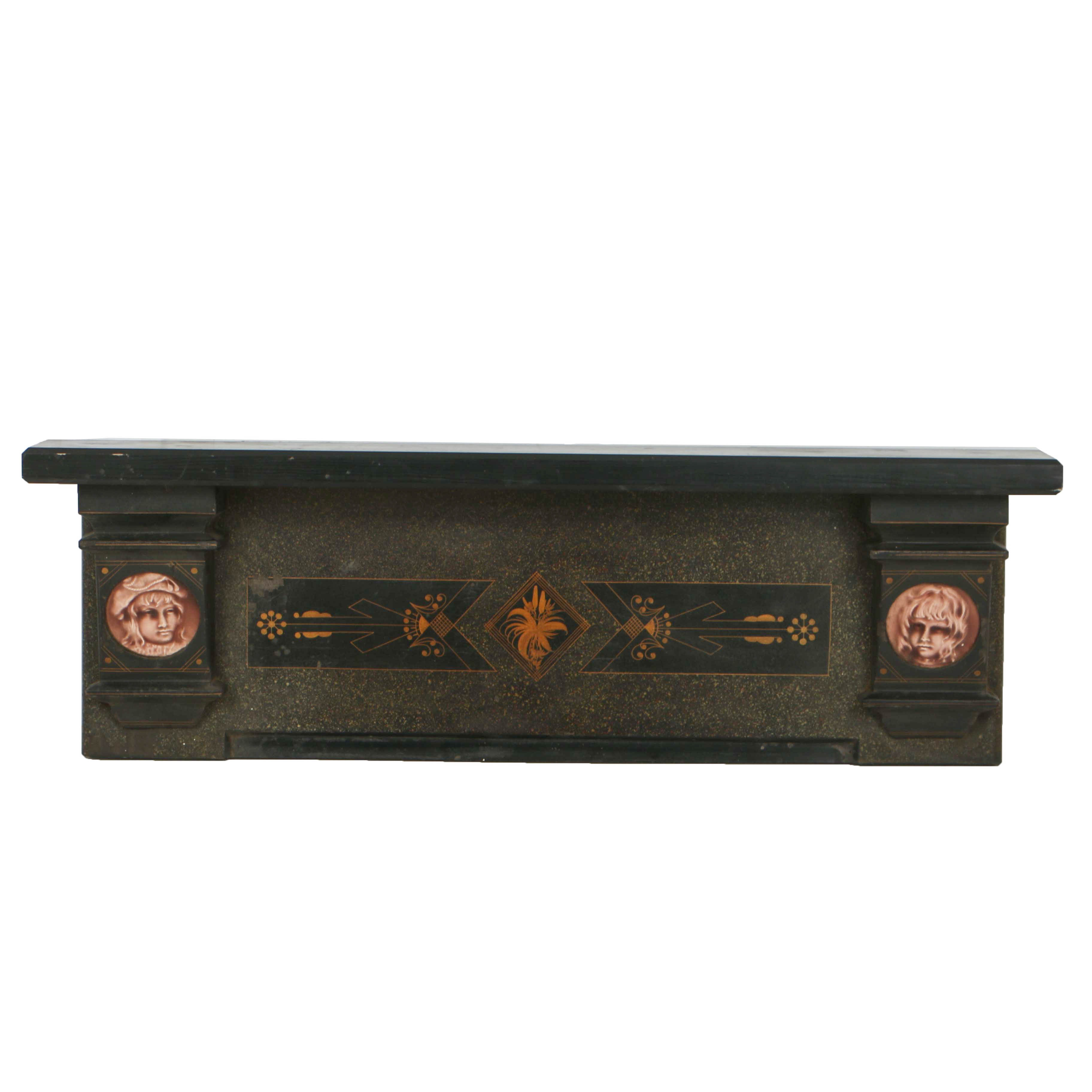 Antique Victorian Eastlake Cast Iron and Wood Wall Shelf with Ceramic Plaques
