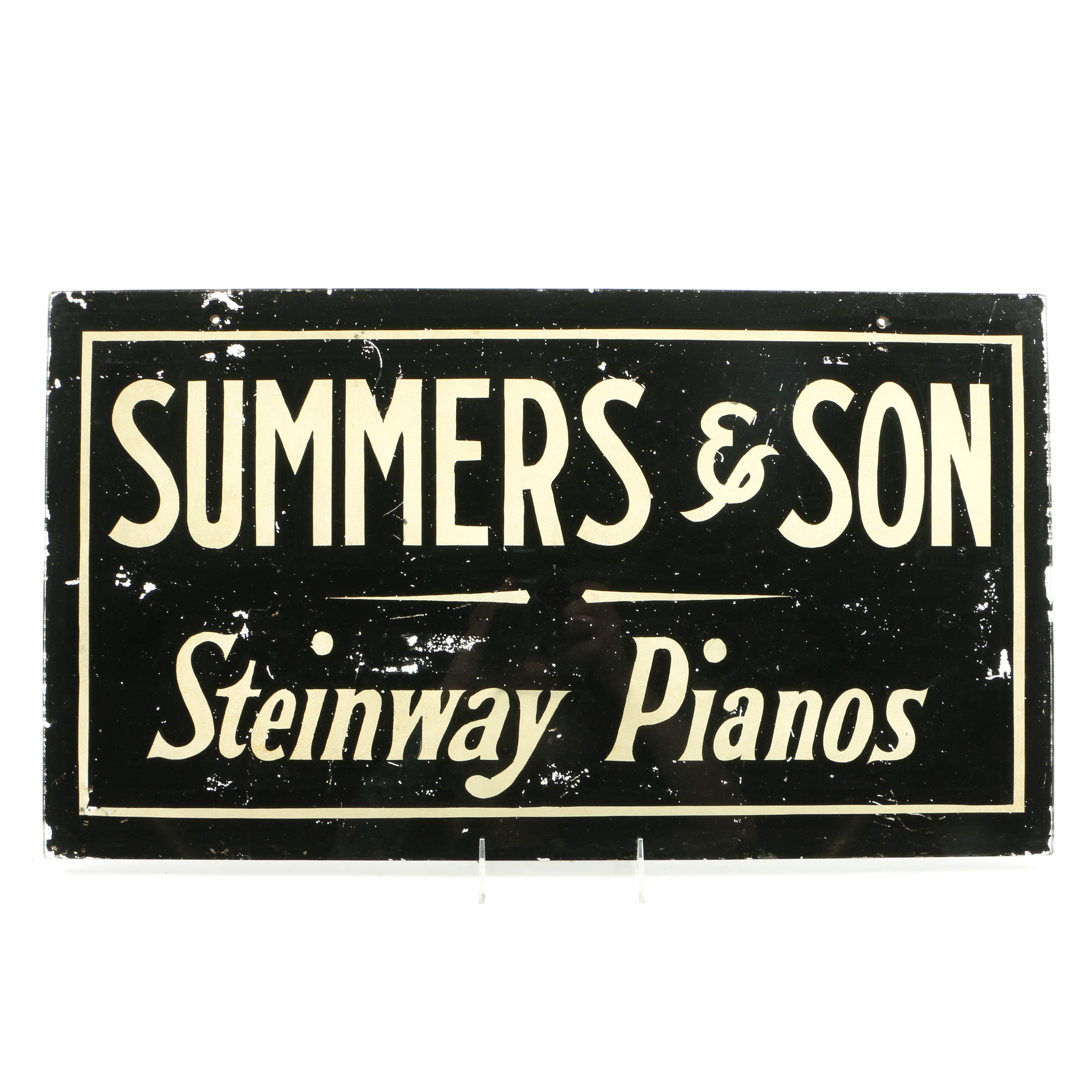 """Vintage Reverse-Painted """"Summers & Son Steinway Pianos"""" Glass Trade Sign"""