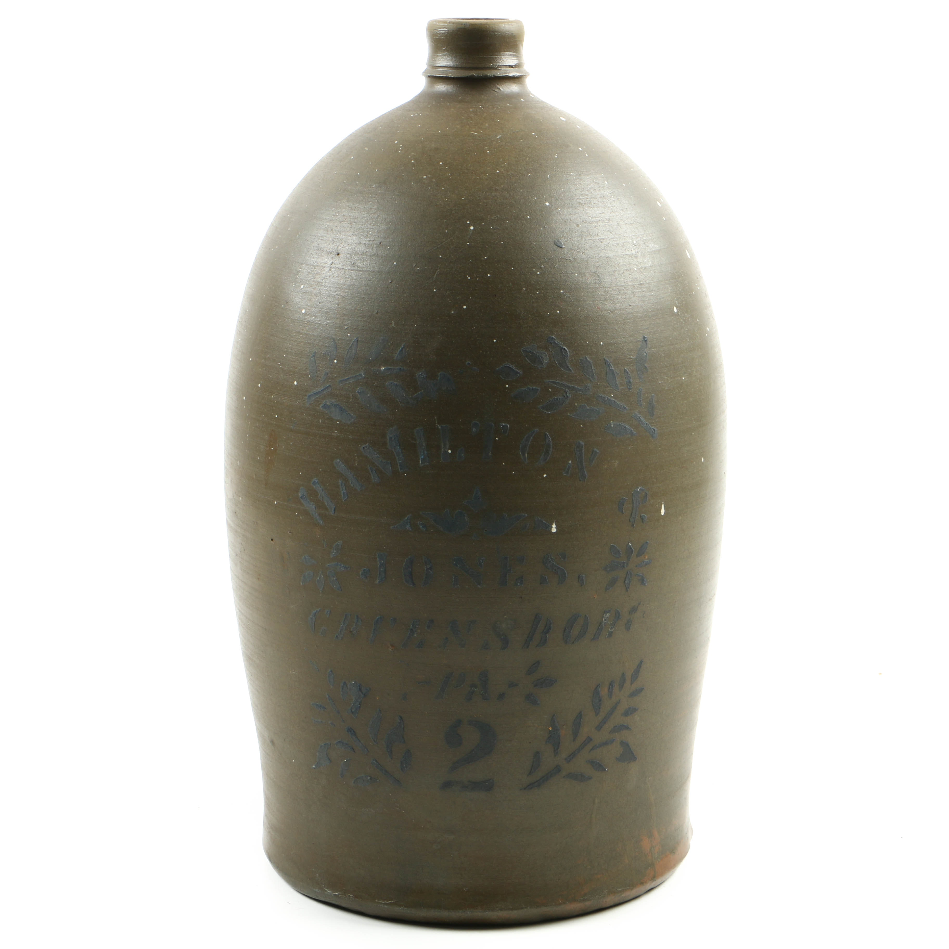 Antique Two-Gallon Stoneware Jug with Cobalt Stenciling by Hamilton & Jones