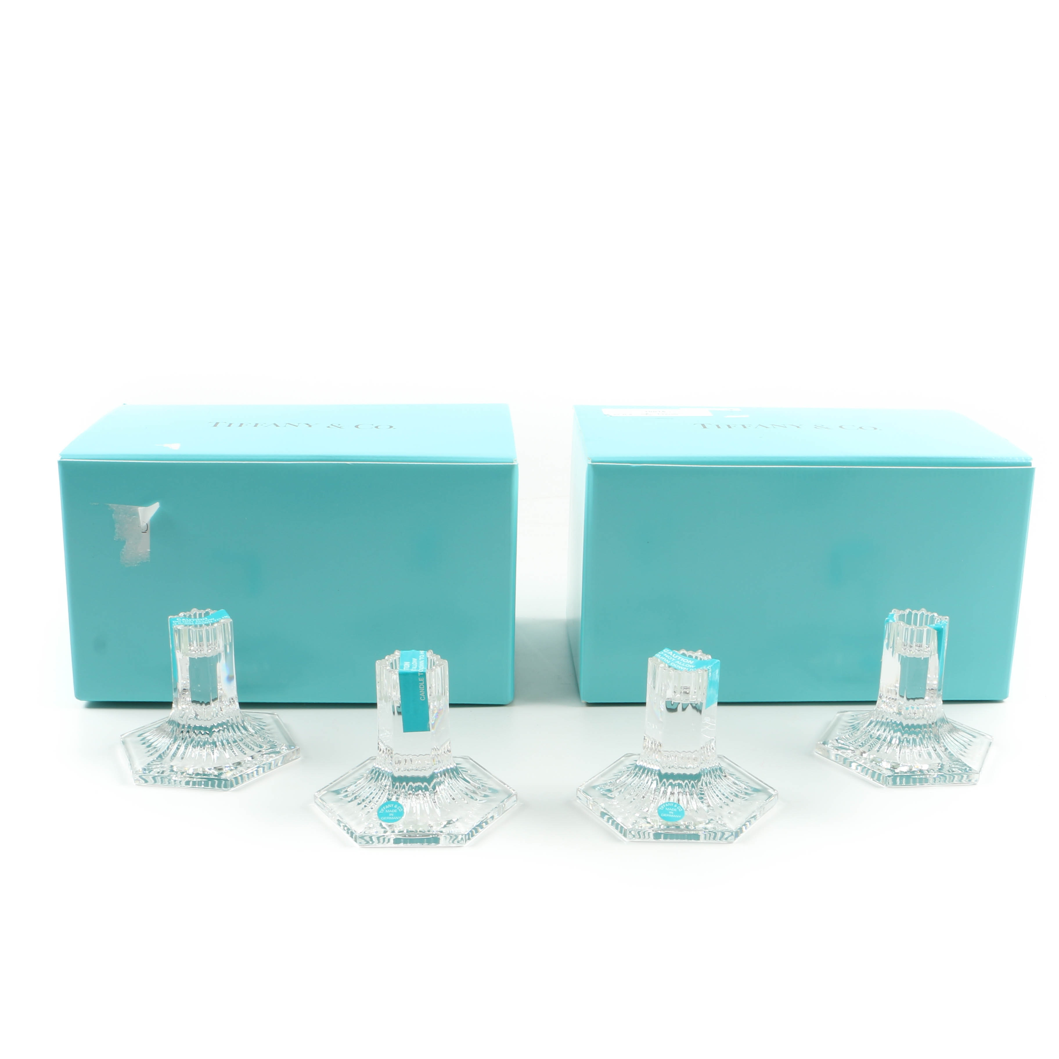 """Tiffany & Co. """"Louis Comfort Tiffany Collection"""" Crystal Candleholders"""
