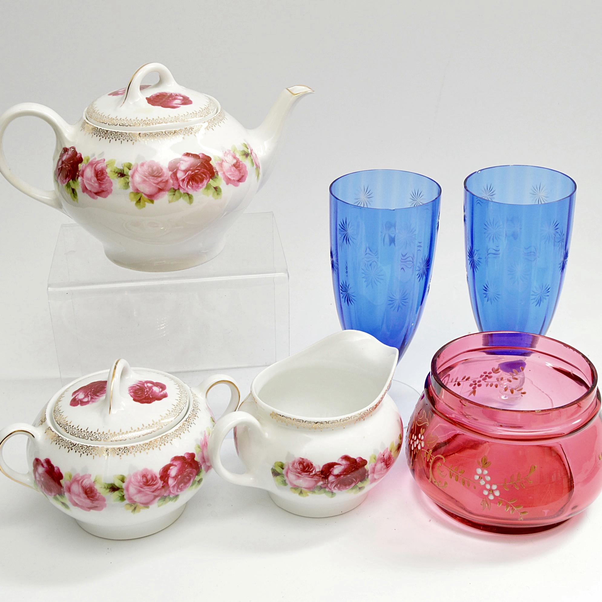 Antique Glassware And Porcelain Teaset