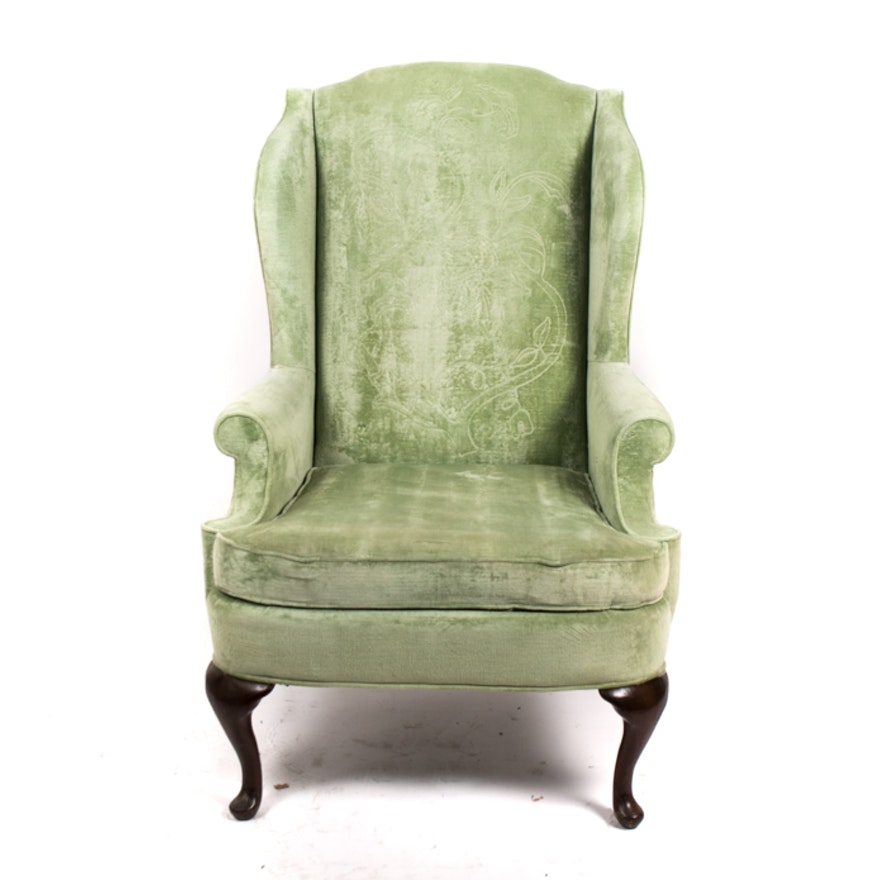 Vintage Drexel Queen Anne Style Quilted Back Wingback Chair ... - Vintage Drexel Queen Anne Style Quilted Back Wingback Chair : EBTH