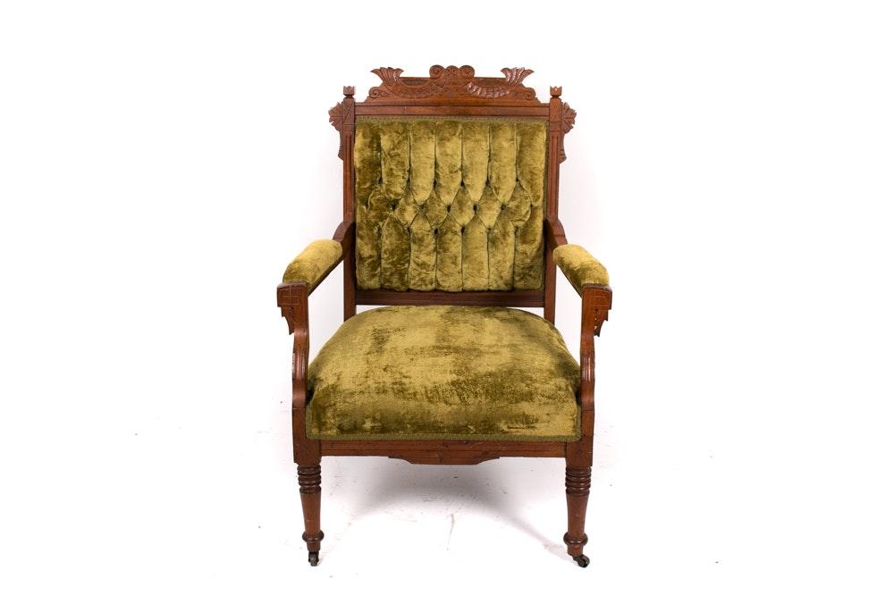 Green Velvet Victorian Eastlake Armchair