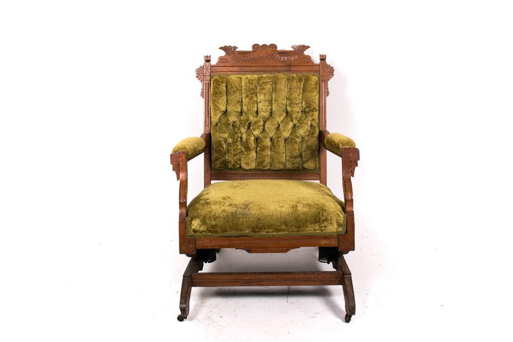 Green Velvet Victorian Eastlake Rocking Chair