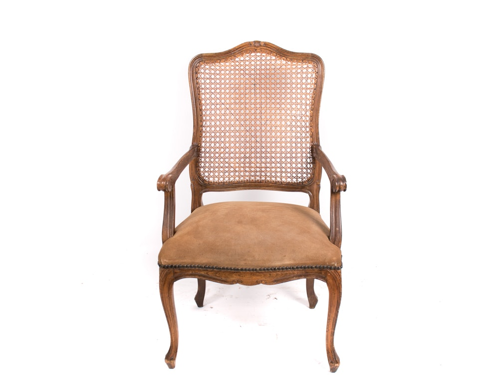 Vintage Louis XV Style Caned Armchair