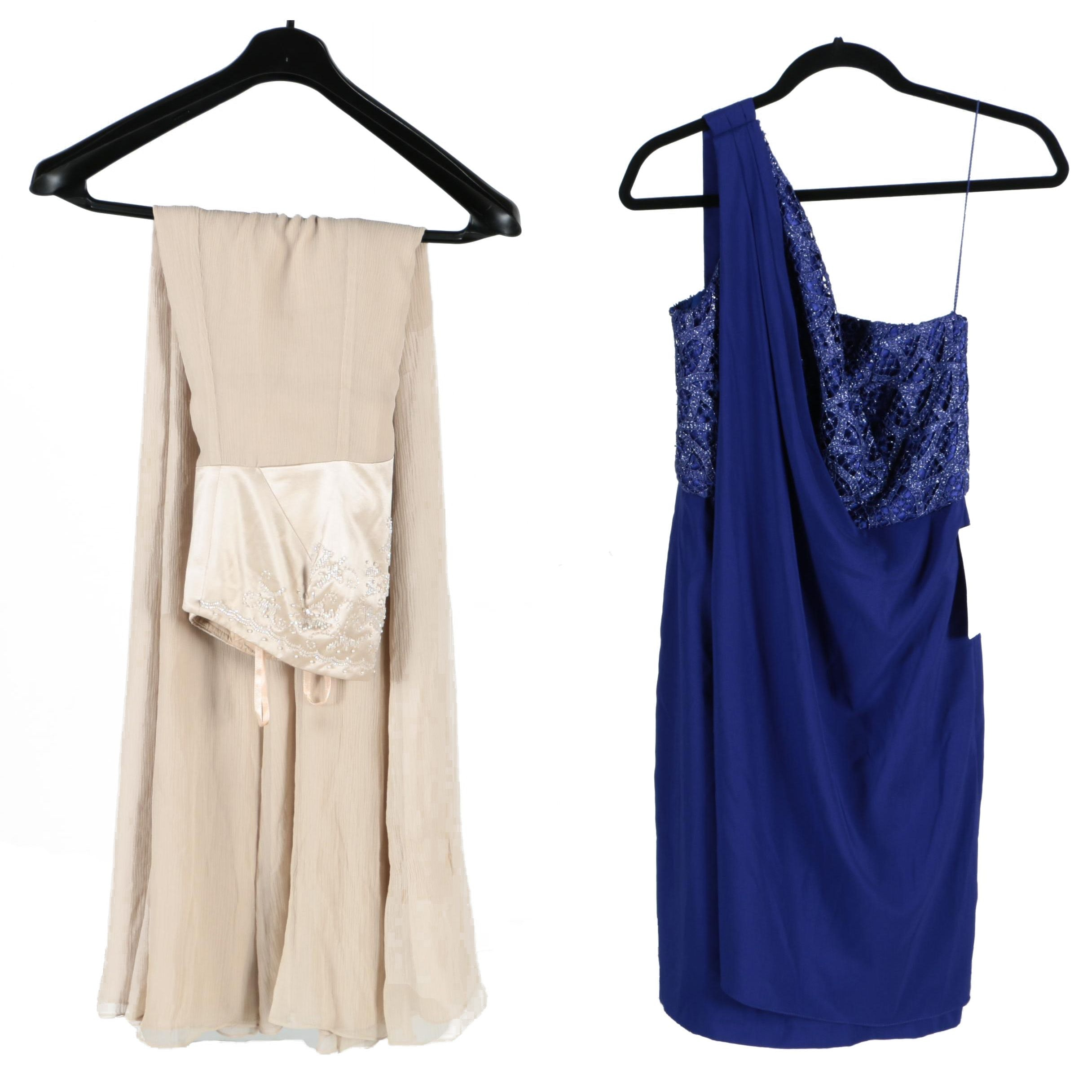Patra One-Shoulder Cocktail Dress and Talbots Strapless Gown