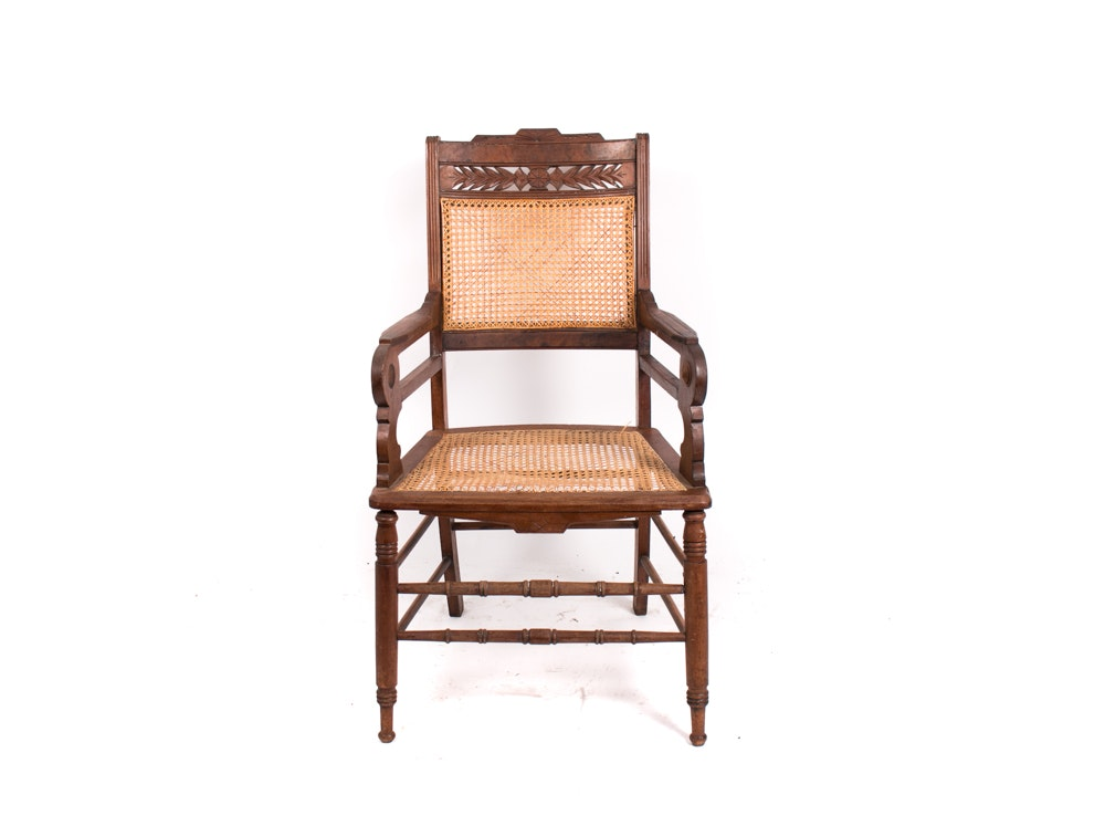 Antique Eastlake Walnut Armchair