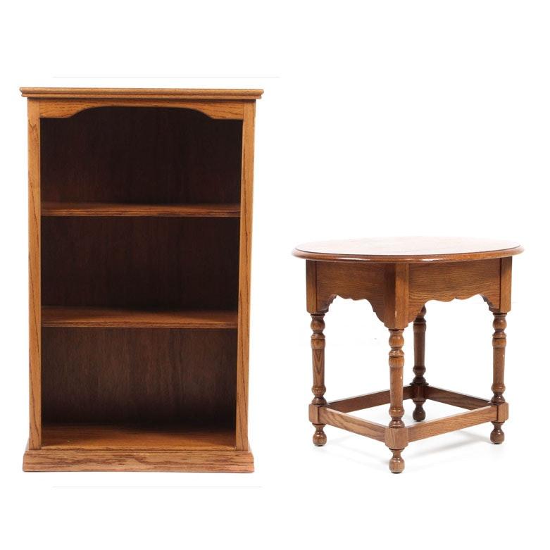 Oak Book Shelf and Pennsylvania House Side Table