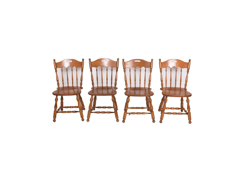 Set of Vintage Windsor Style Dining Chairs by Ethan Allen