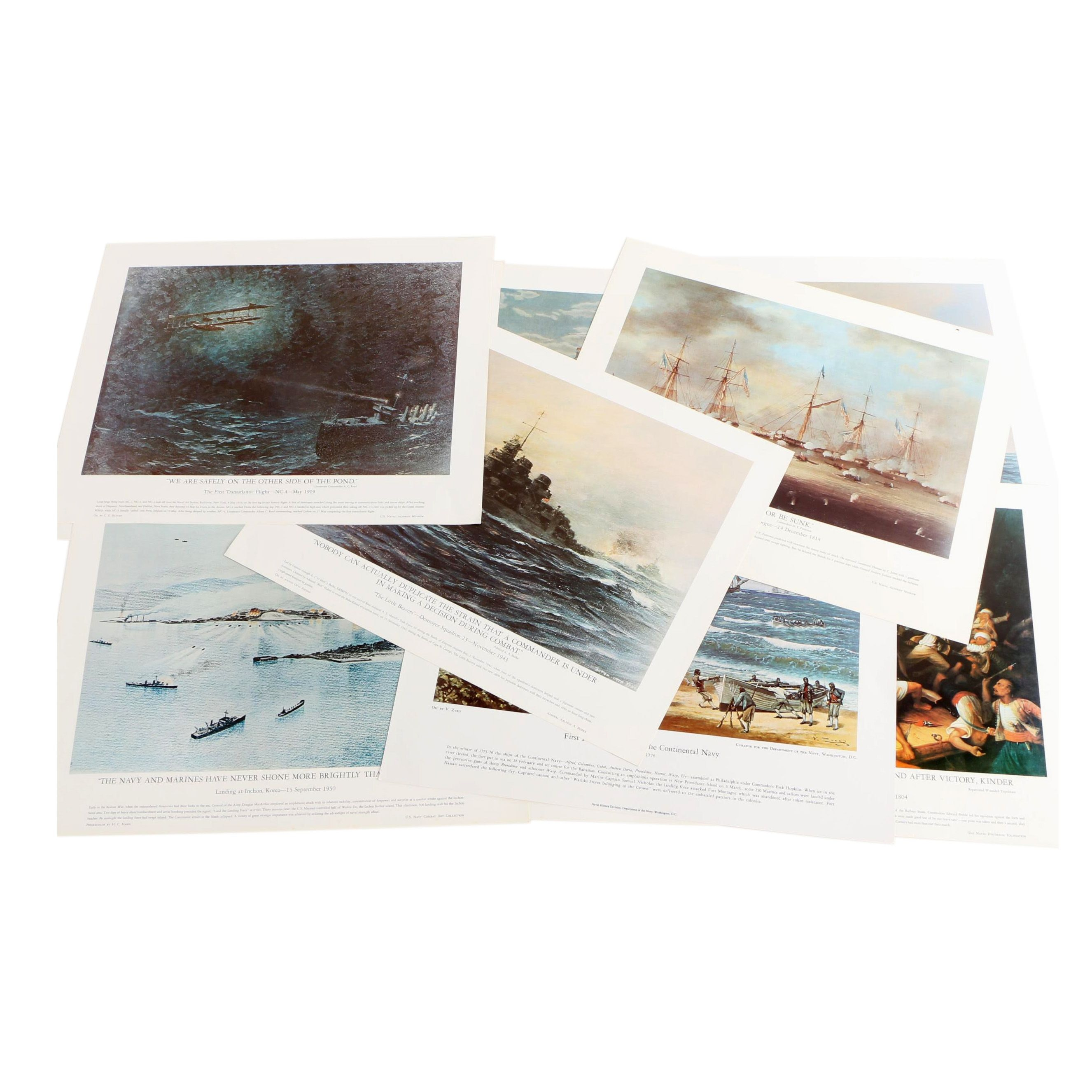 Offset Lithographs After Paintings of Historic Naval Battles