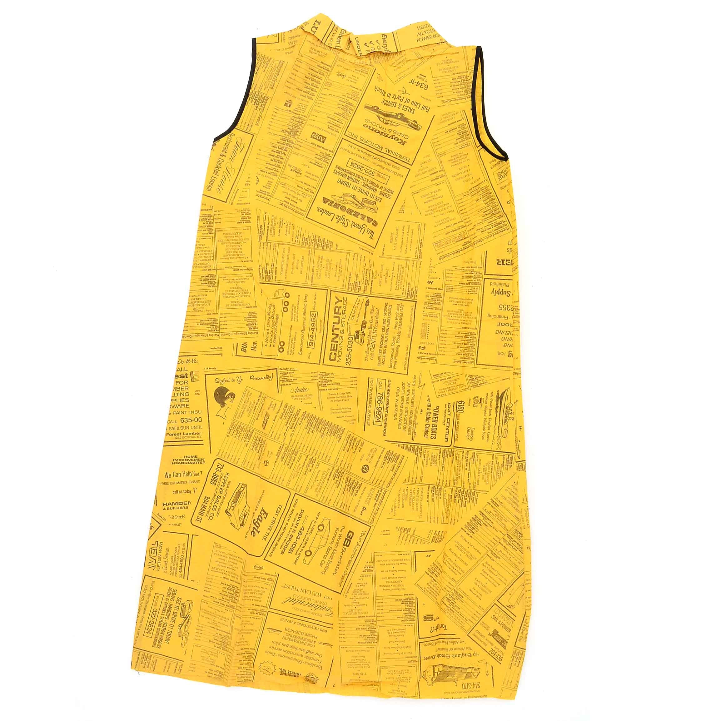 1960s Vintage Waste Basket Boutique Yellow Pages Paper Dress