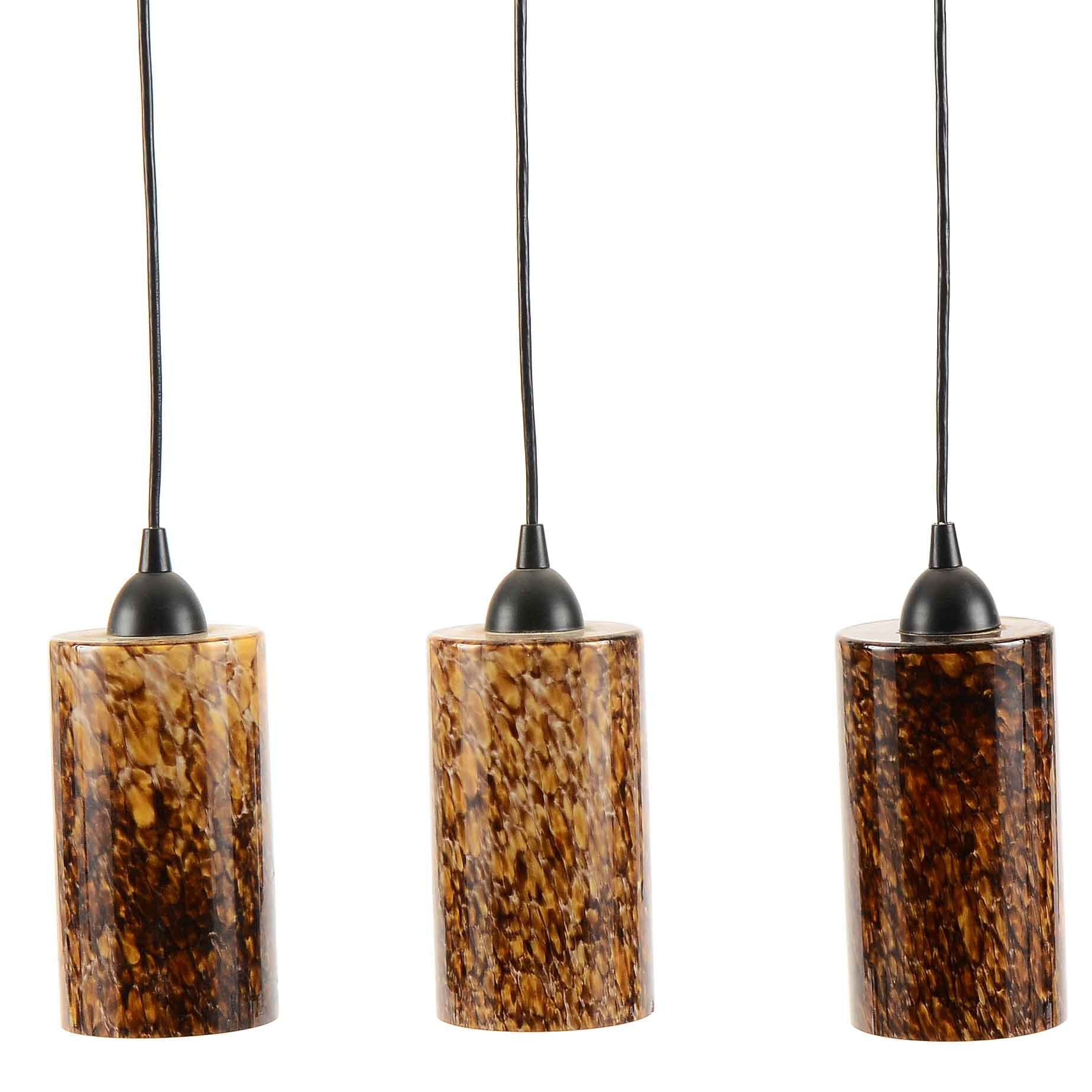Mottled Glass Cylindrical Pendant Lights by Intertex