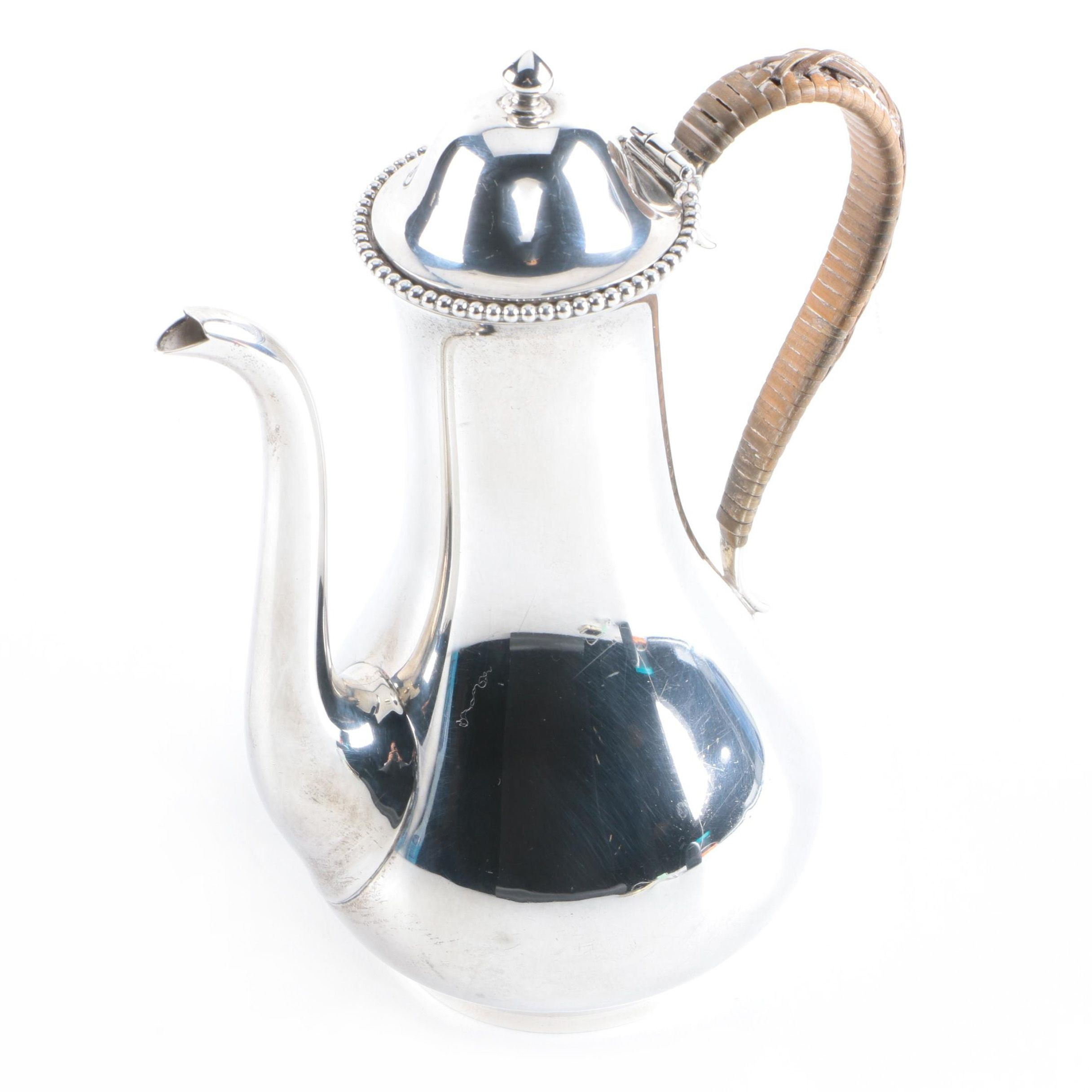 Gorham Sterling Silver Mini Coffee Pot with Wicker Wrapped Handle