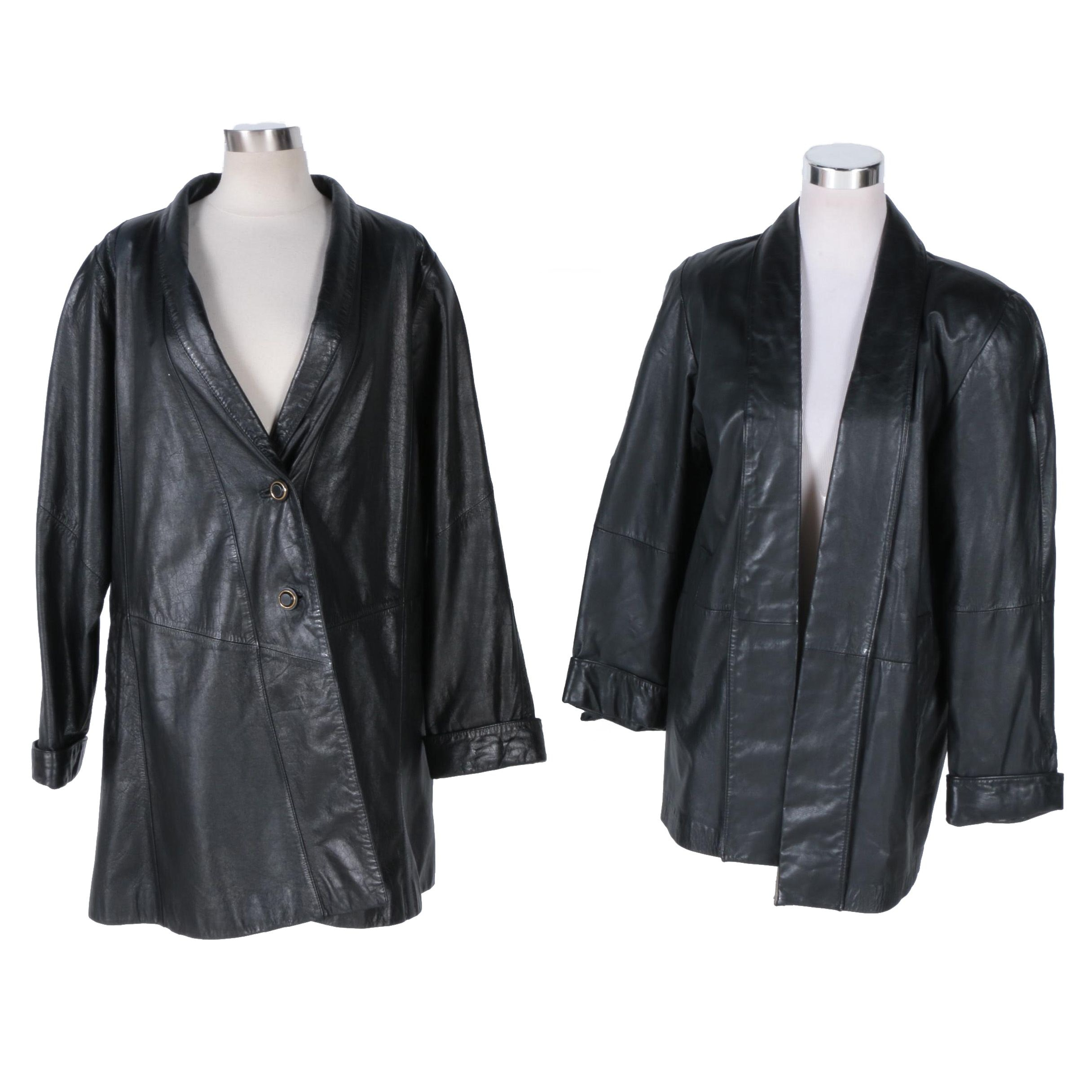 Women's G III and Lord & Taylor Black Leather Jackets