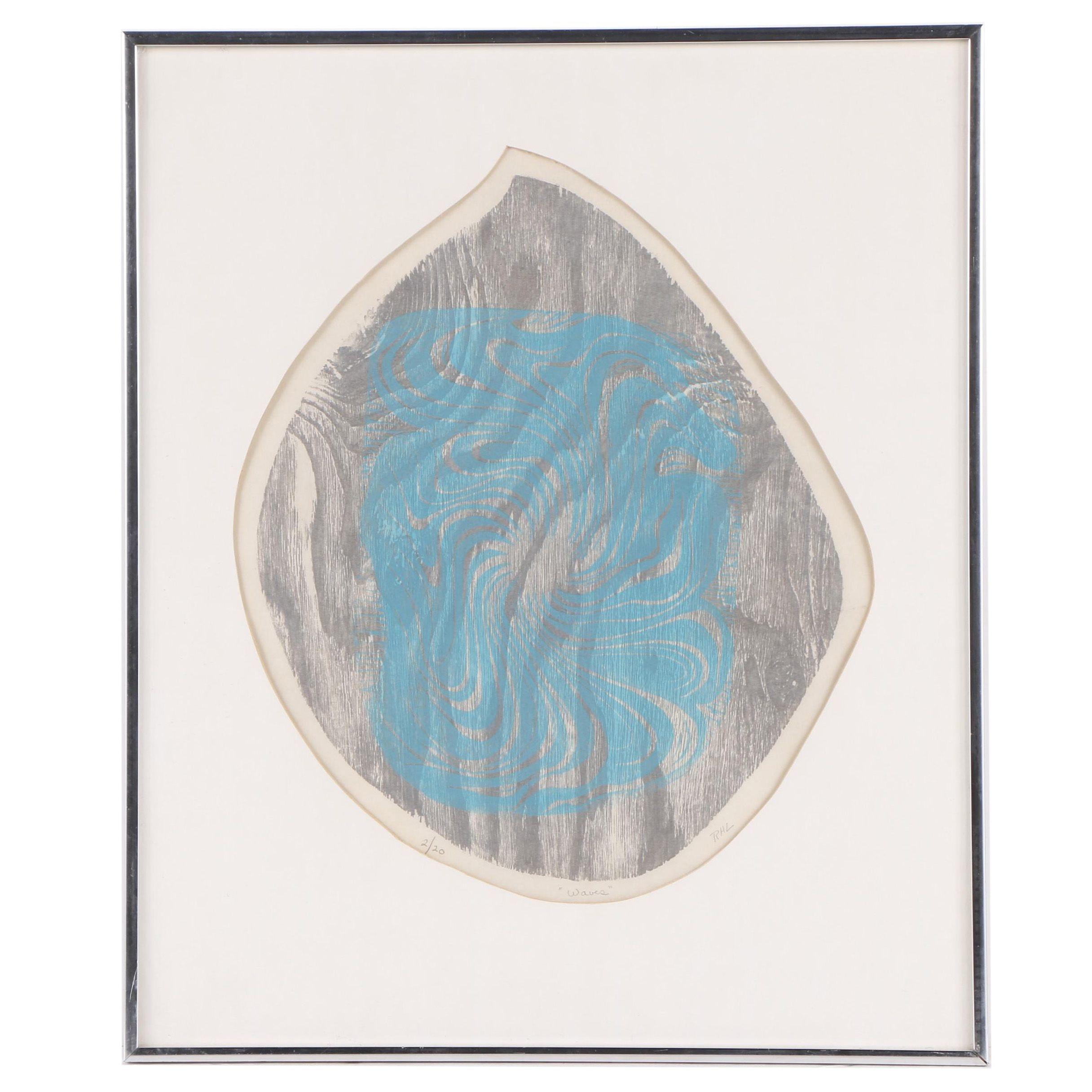 "Rosamond Hadley Lincoln Abstract Woodcut ""Waves"""