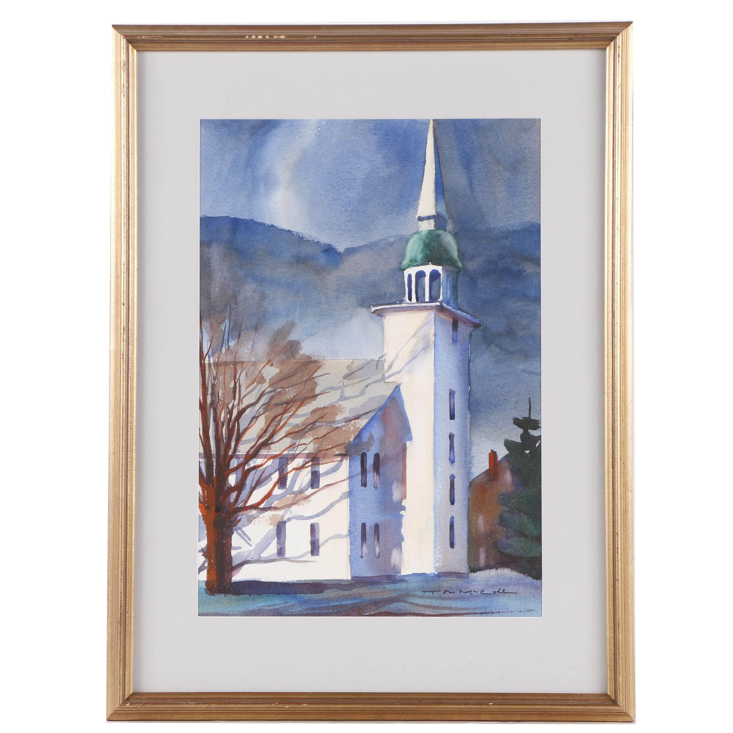 Tom McCobb Watercolor Painting a Church
