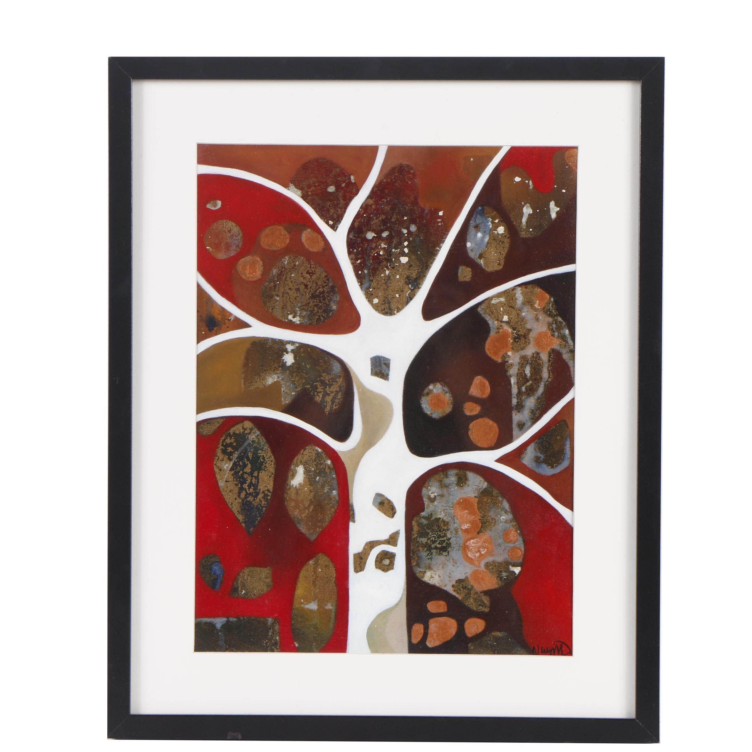 "Neil Wyatt Abstract Oil Painting ""White Tree"""