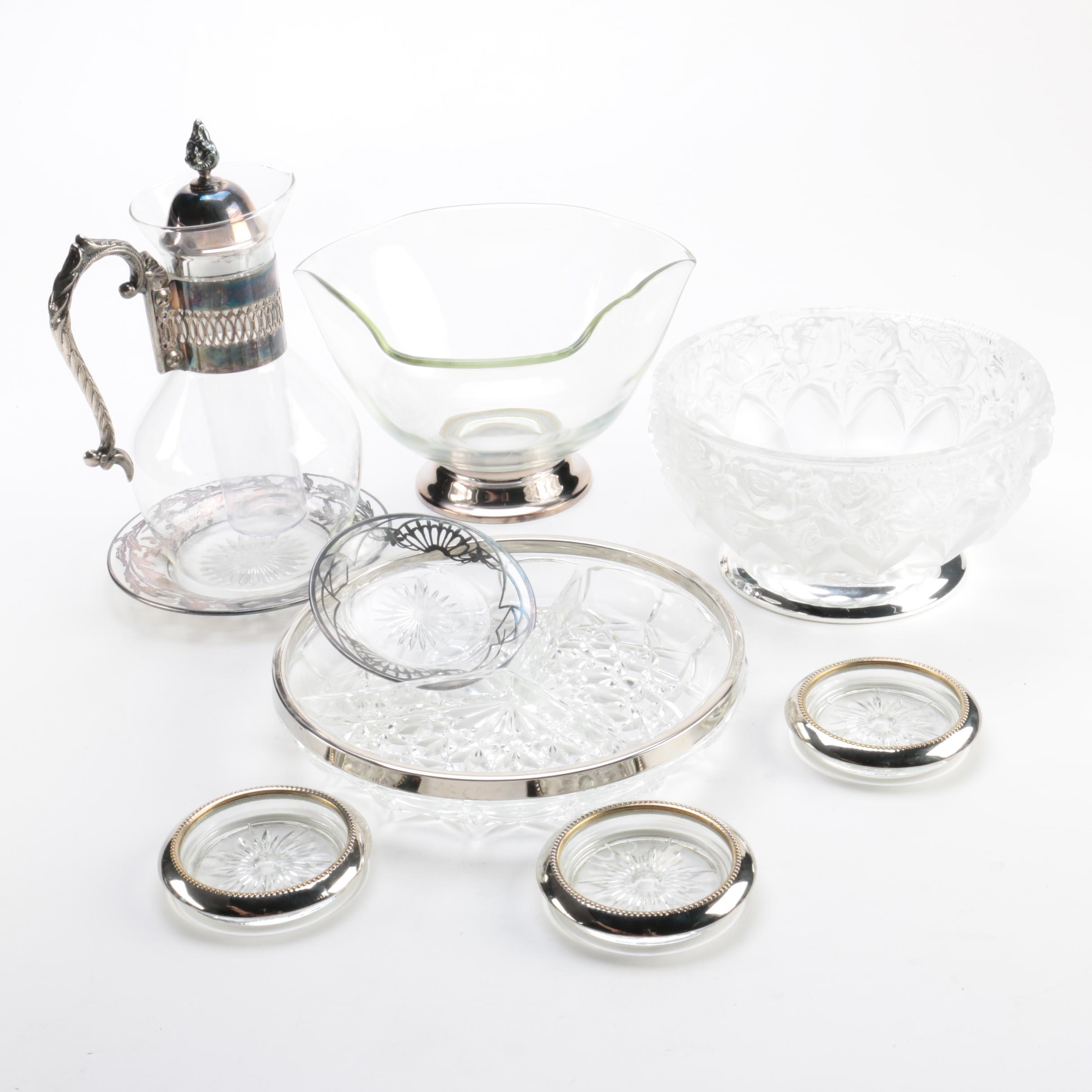 Silver Plate Foliate Overlay Dish and Silver Plate Trimmed Serveware