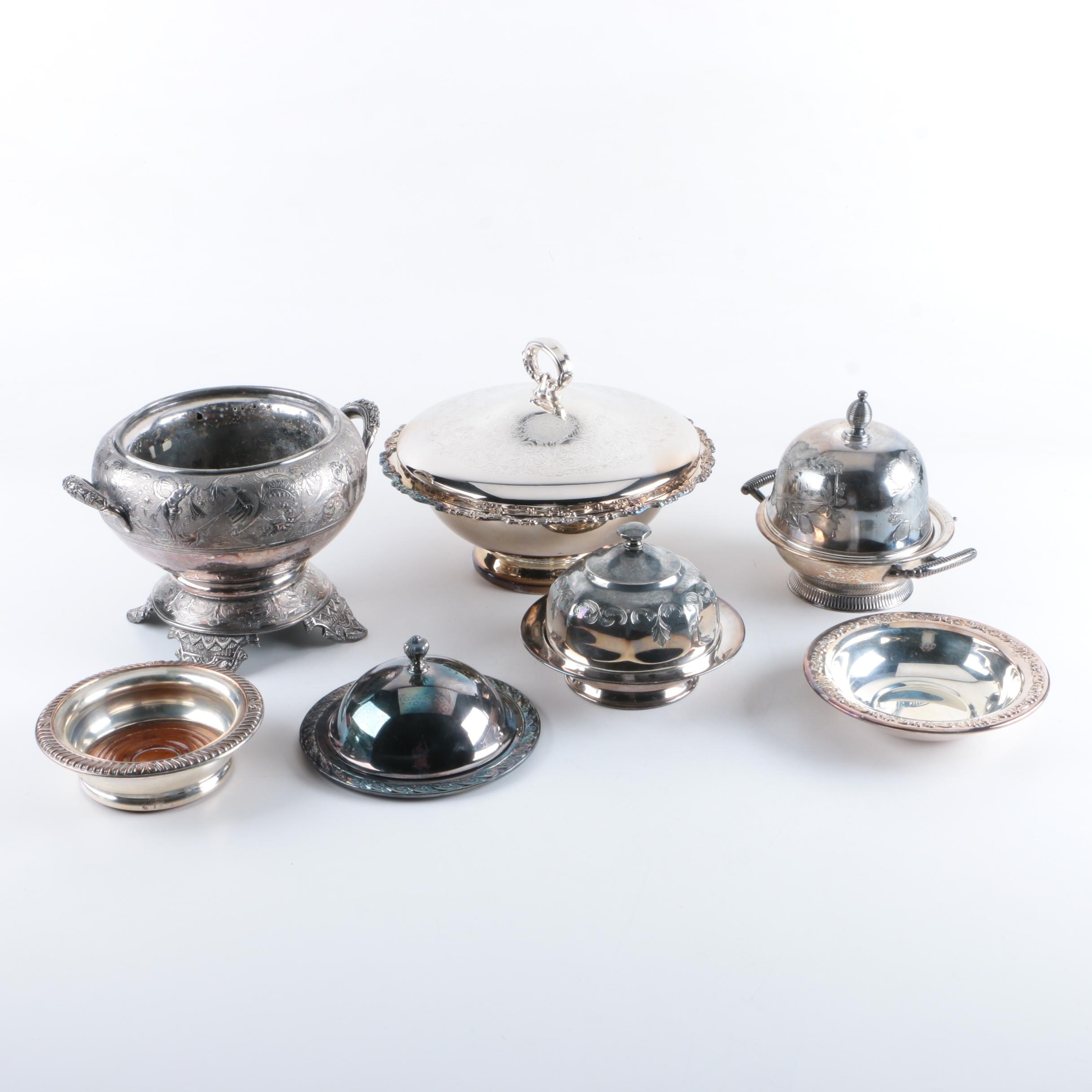 Simpson, Hall, Miller & Co Silver Plate Covered Dish and Assorted Serveware