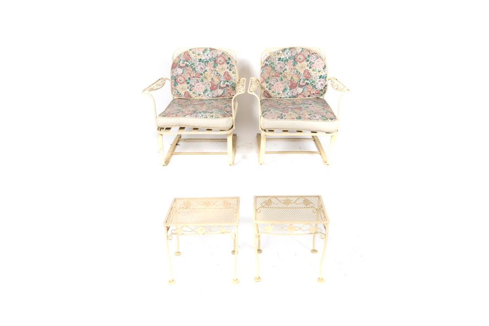 Meadowcraft Mid-Century Patio Armchairs and Accent Tables