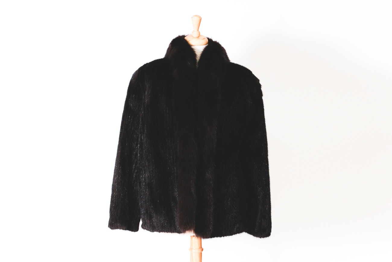 Black Mink Jacket by Saga Mink with Dark Brown Fox Fur Tuxedo Collar