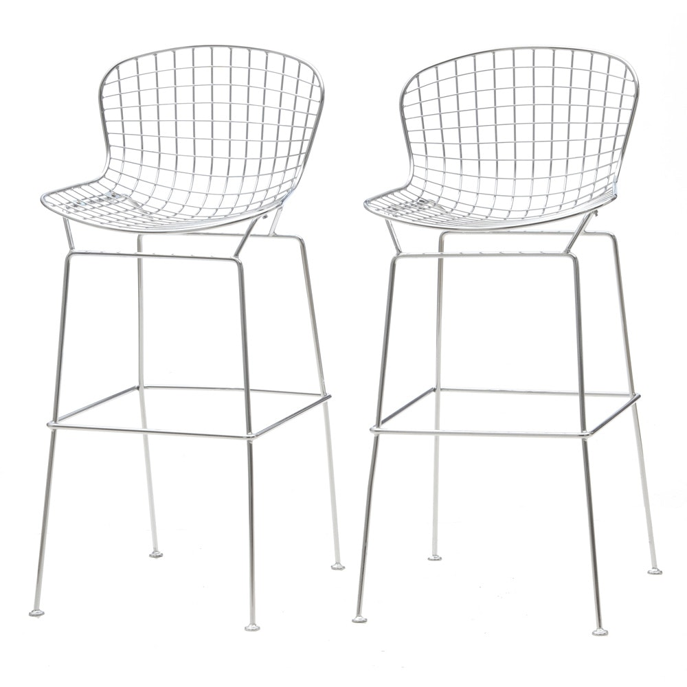 Pair of Modern Bertoia Style Bar Stools