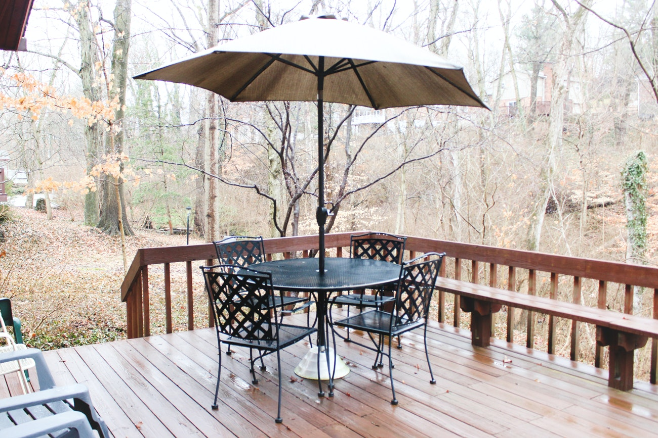 Outdoor Table, Chairs, and Sun Umbrella with Stand
