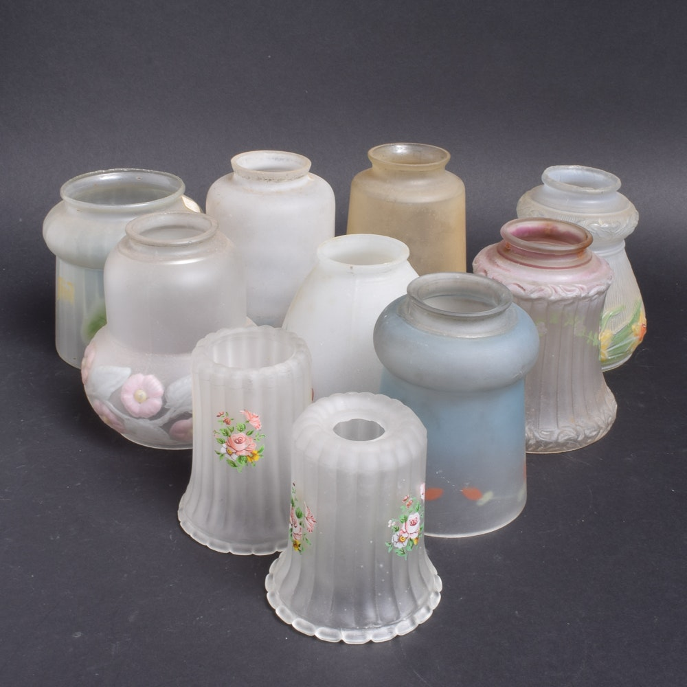 Assorted Glass Light Shades with Floral Designs