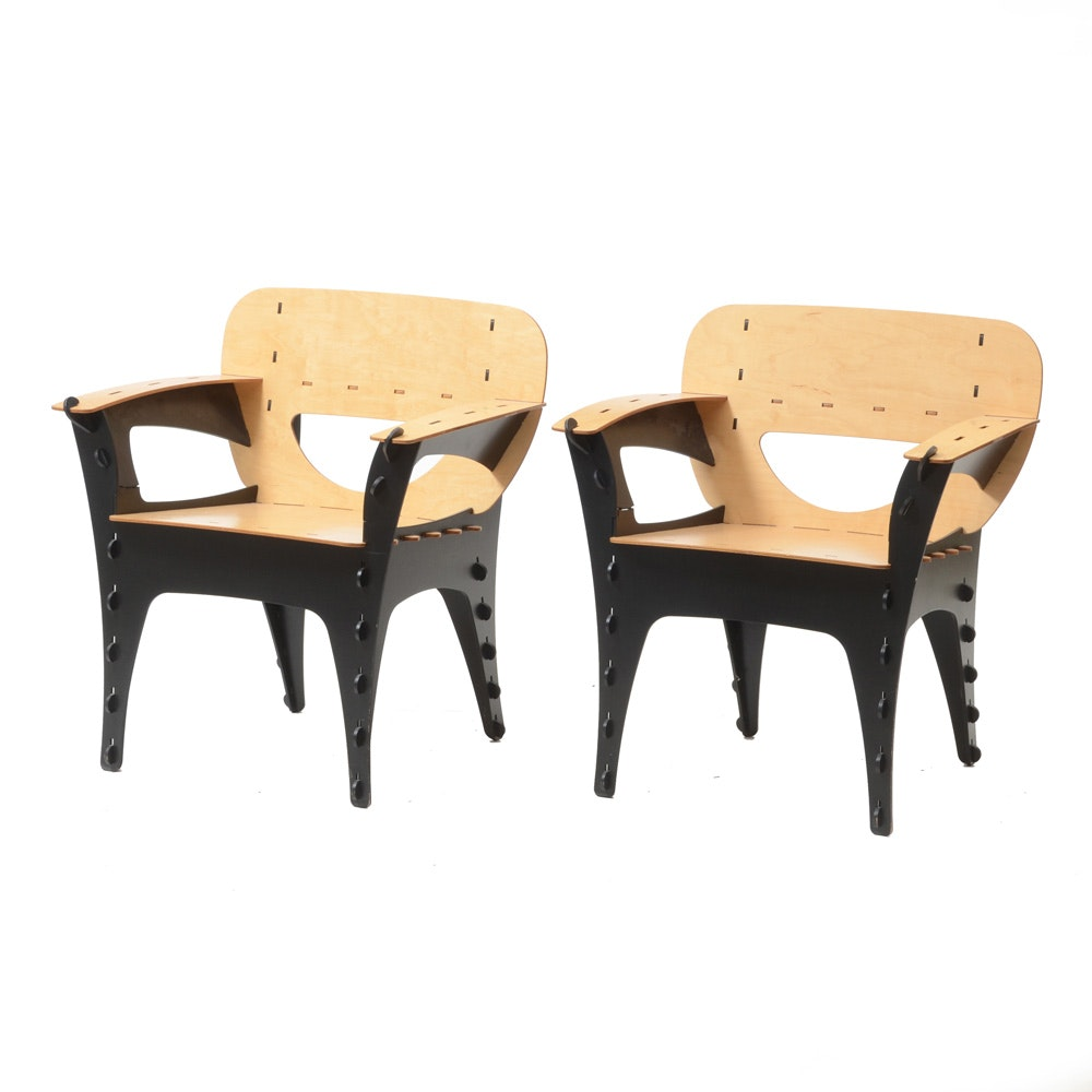 "Pair of Modernist Kawecki ""Puzzle"" Armchairs"
