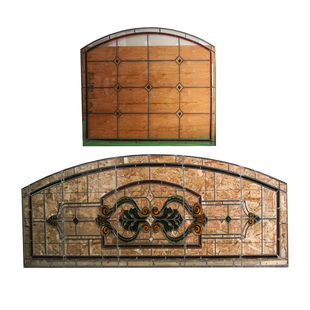 Pairing of Substantial Stained Glass Window Panels