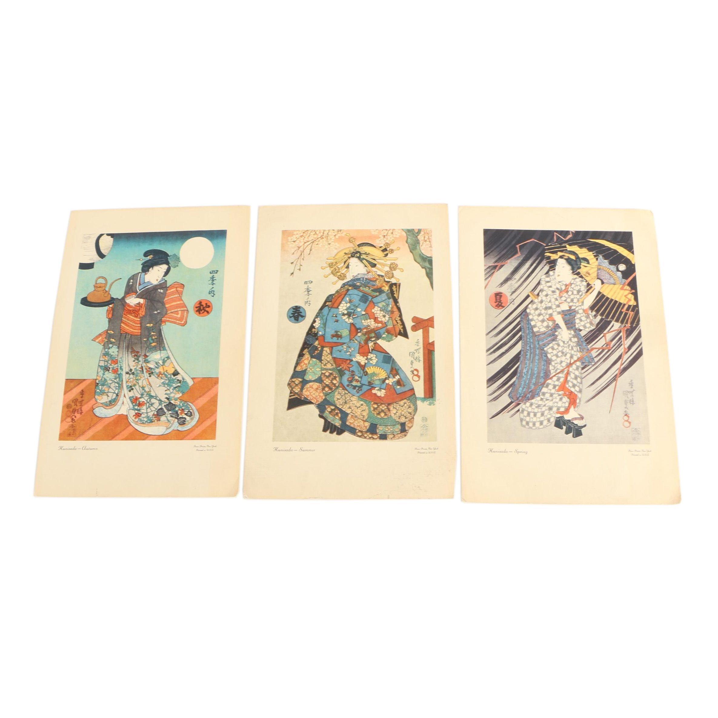"Offset Lithographs After Utagawa Kunisada I ""Four Seasons"" Woodblock Series"
