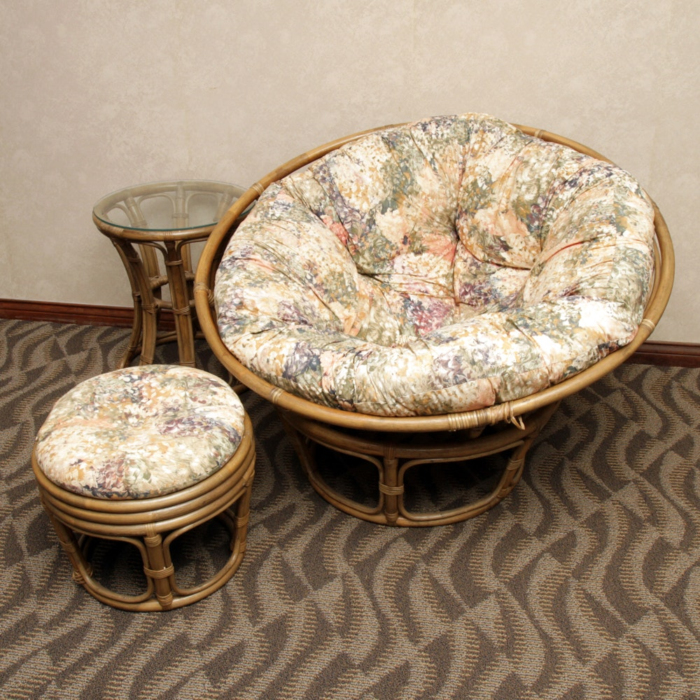 Rattan Papasan Chair, Ottoman and Side Table