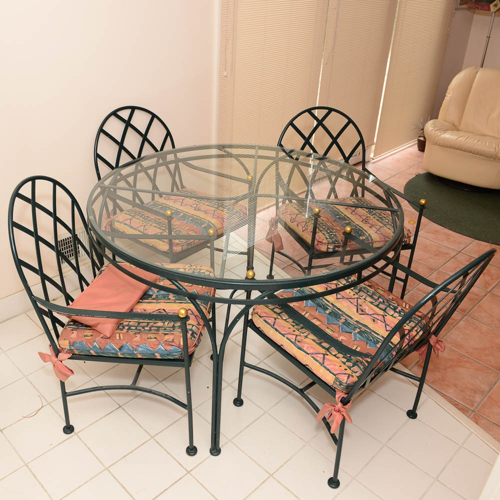Metal and Glass Patio Dining Set