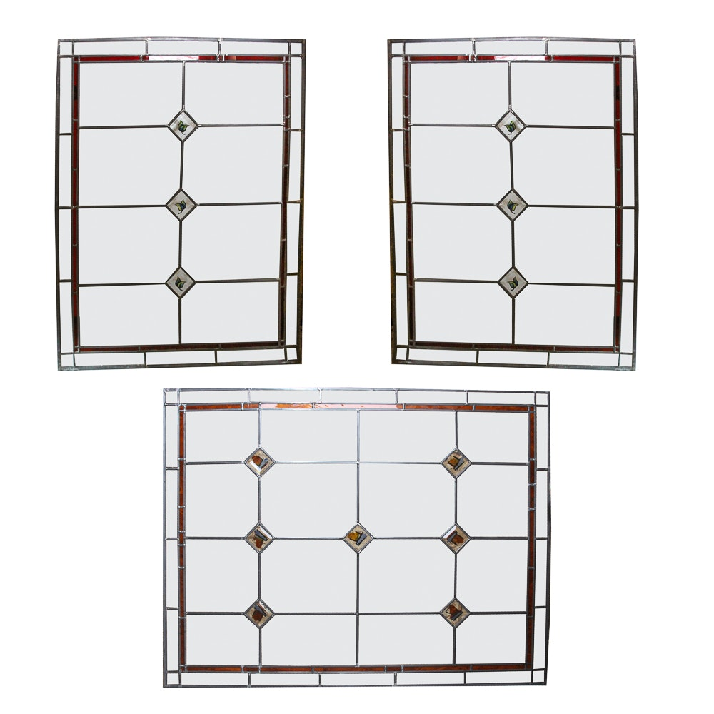 Set of Stained Glass Window Panels