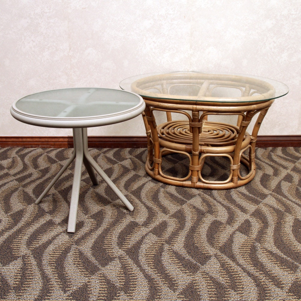 Rattan Side Table and Metal Patio Table