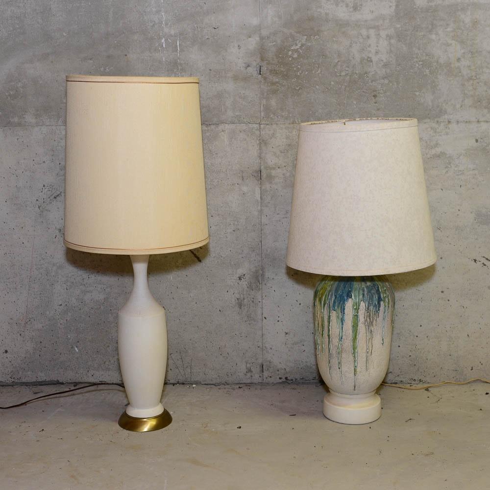 Mid Century Ceramic Urn Table Lamps