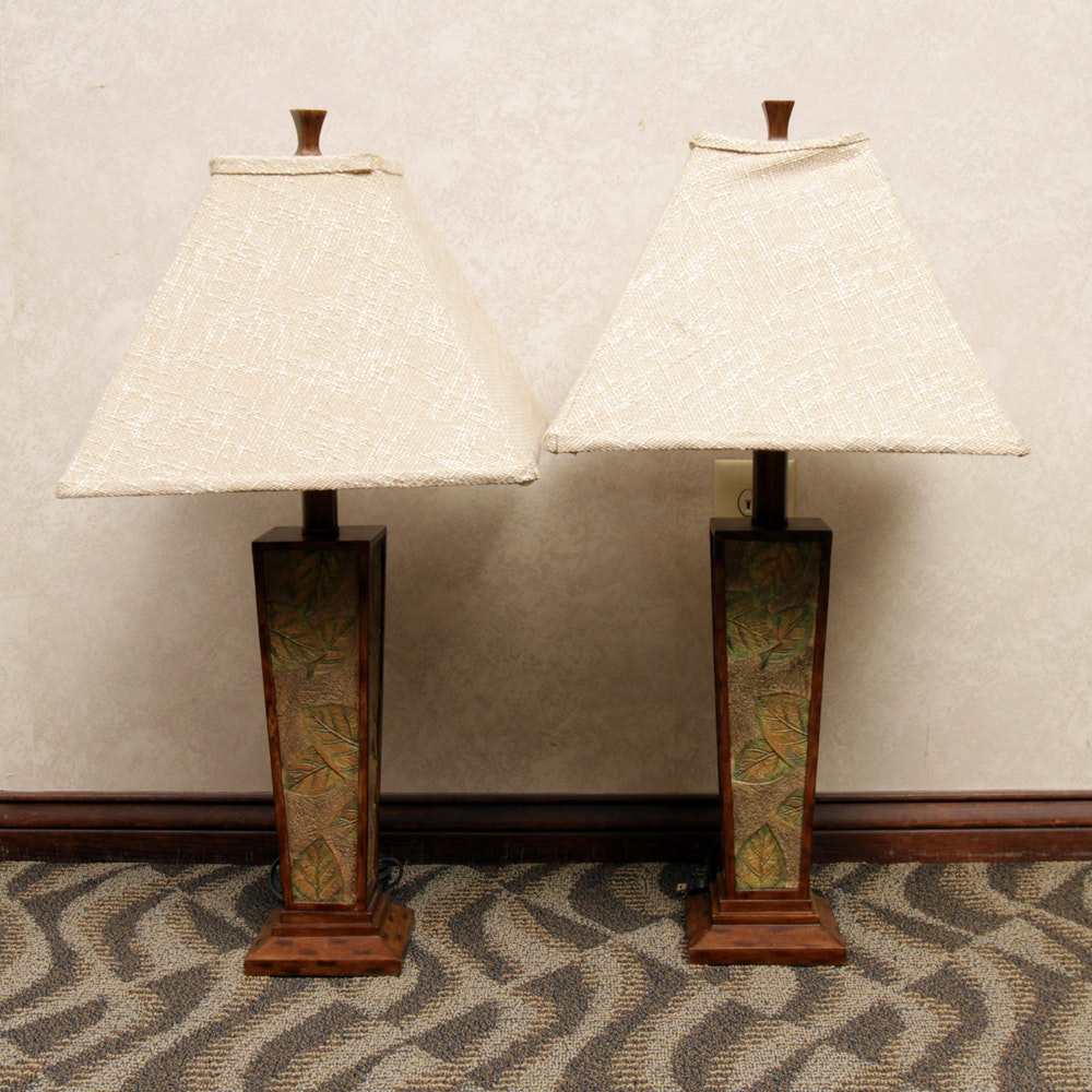Pillar Style Table Lamps with Shades
