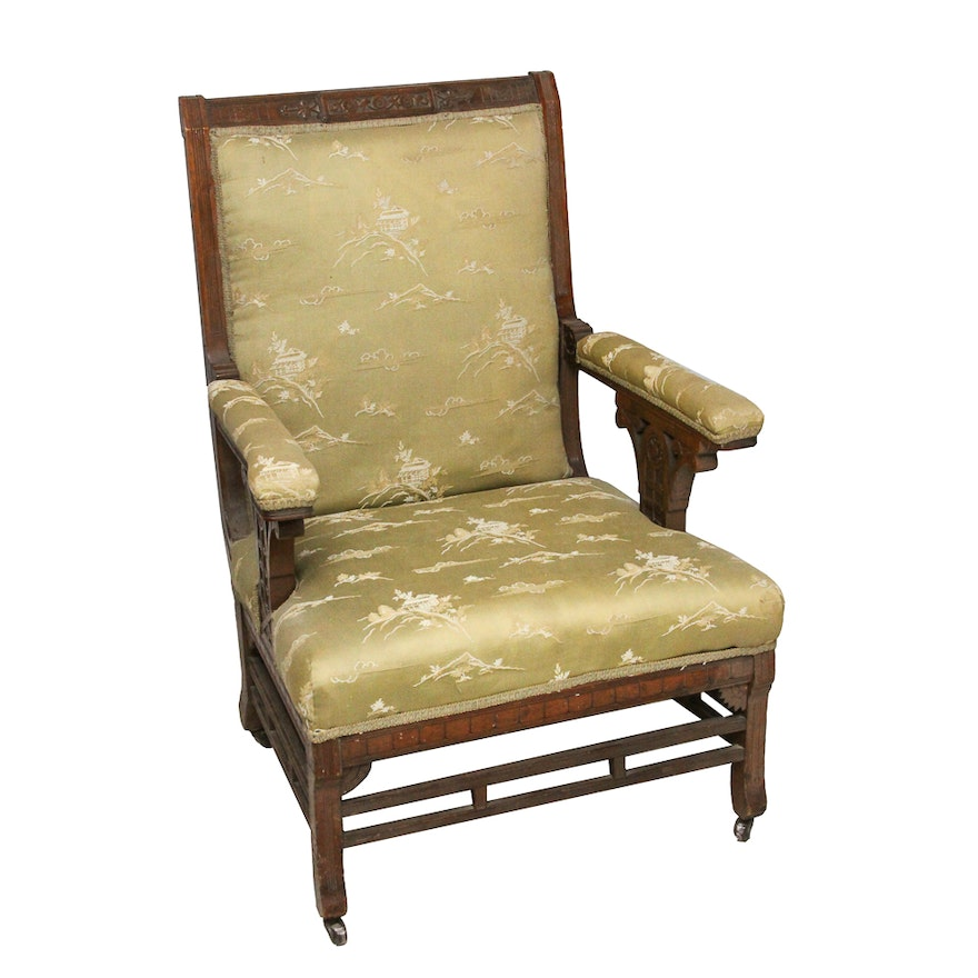 Antique Victorian Eastlake Upholstered Armchair : EBTH