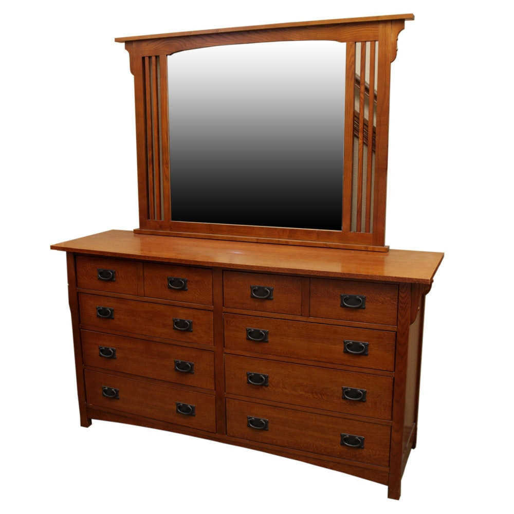 Mission Style Chest of Drawers with Mirror by Bassett