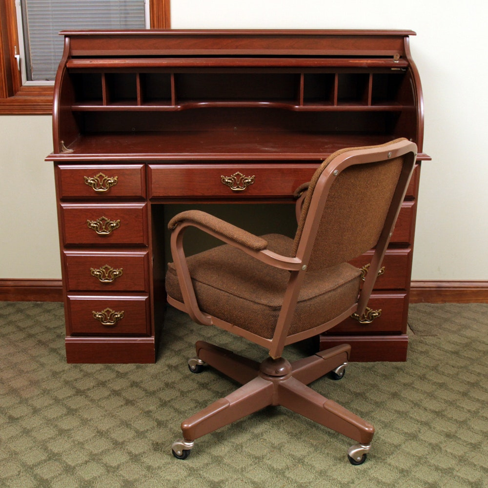 Cherry Finished Roll-Top Desk with Vintage Office Chair