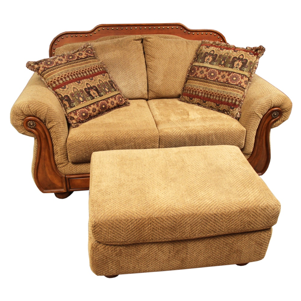 Mediterranean Style Loveseat with Ottoman