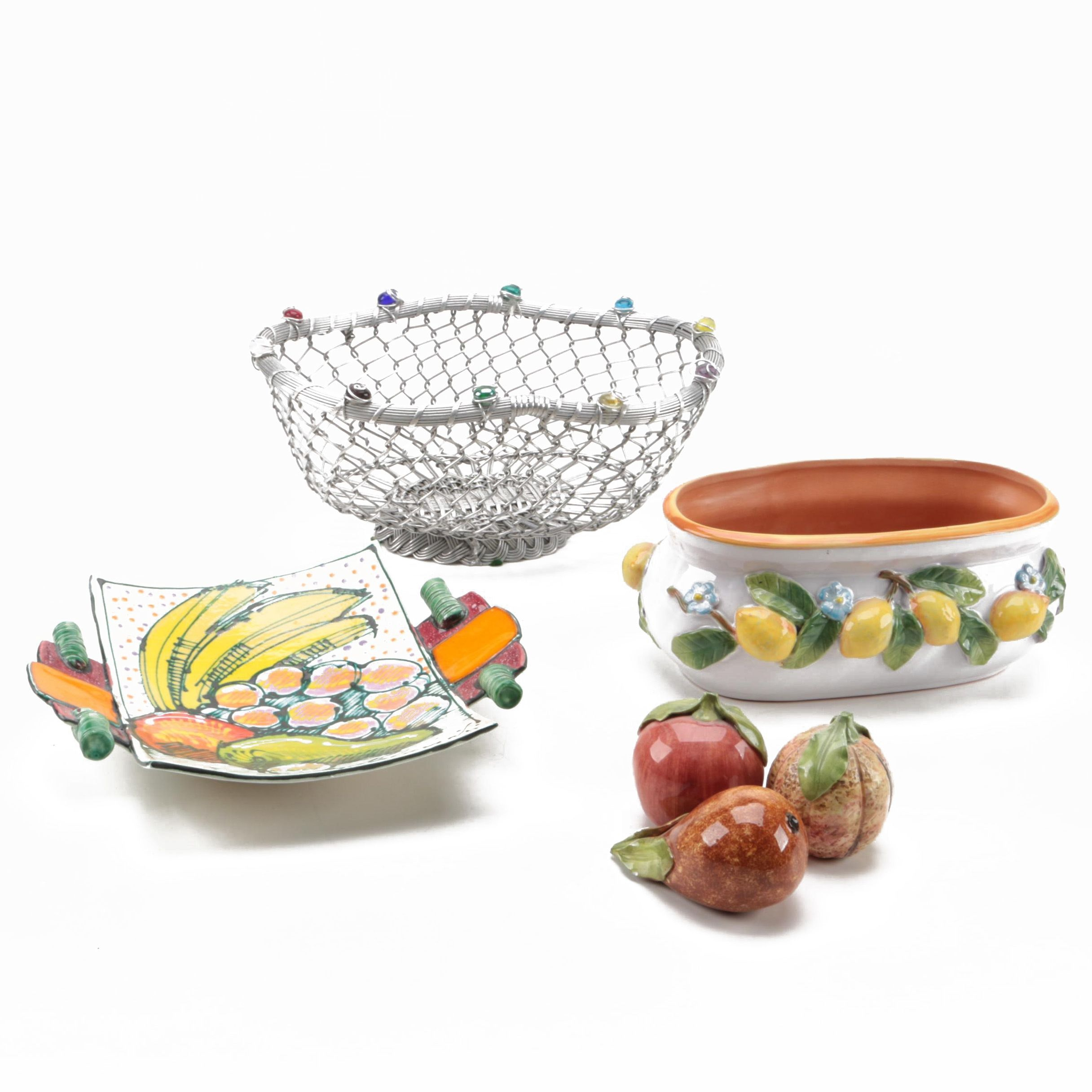 Kitchen Baskets and Trays with Ceramic Fruit