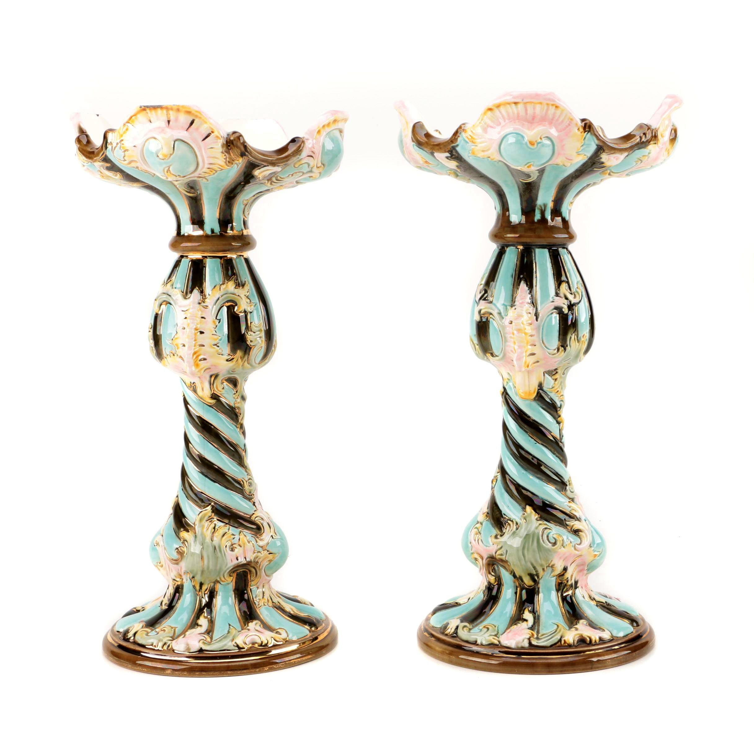 Majolica Candle Holders
